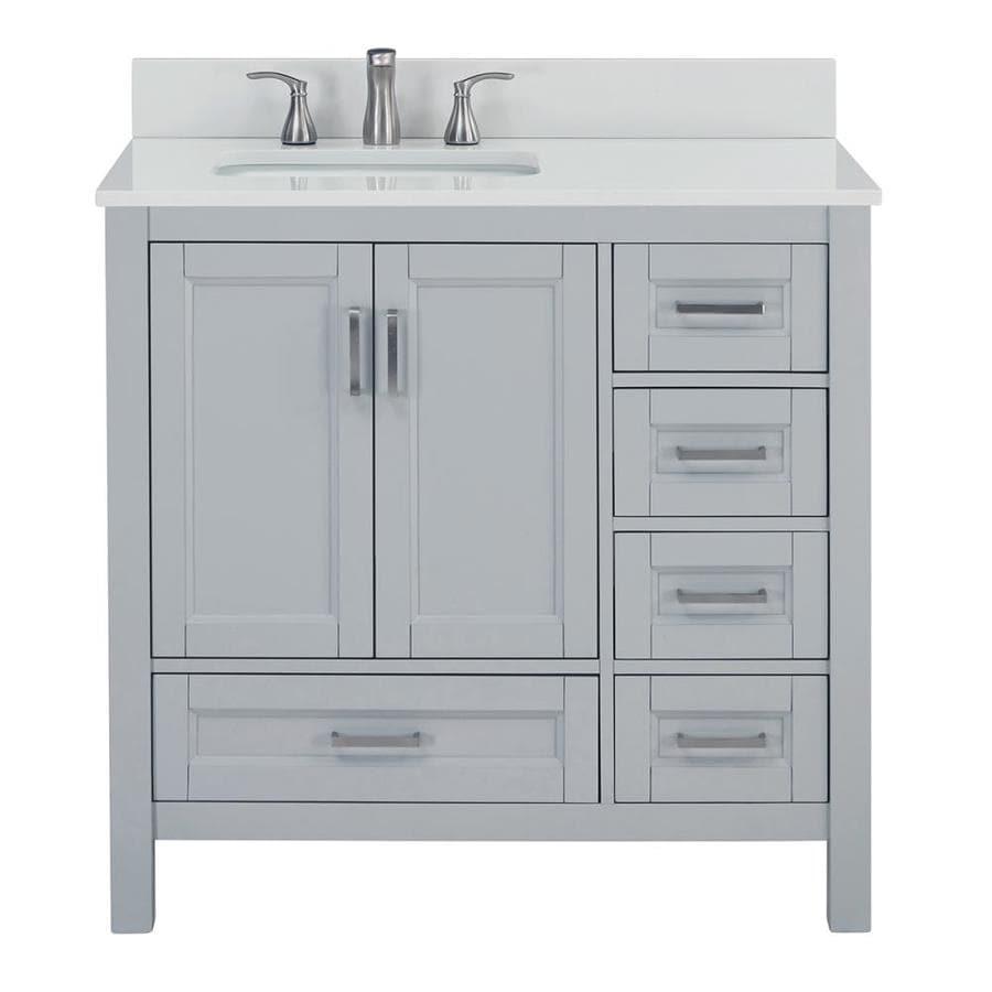 Scott Living Durham 36 In Light Gray Single Sink Bathroom Vanity With White Engineered Stone Top