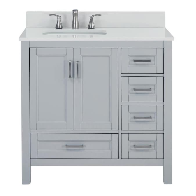 Durham 36 In Light Gray Undermount Single Sink Bathroom Vanity With White Engineered Stone Top In The Bathroom Vanities With Tops Department At Lowes Com