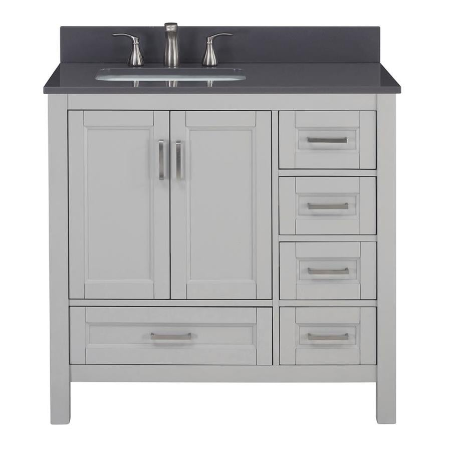 Scott Living Durham Cool Gray Undermount Single Sink Bathroom Vanity with Engineered Stone Top (Common: 36-in x 22-in; Actual: 36-in x 22-in)