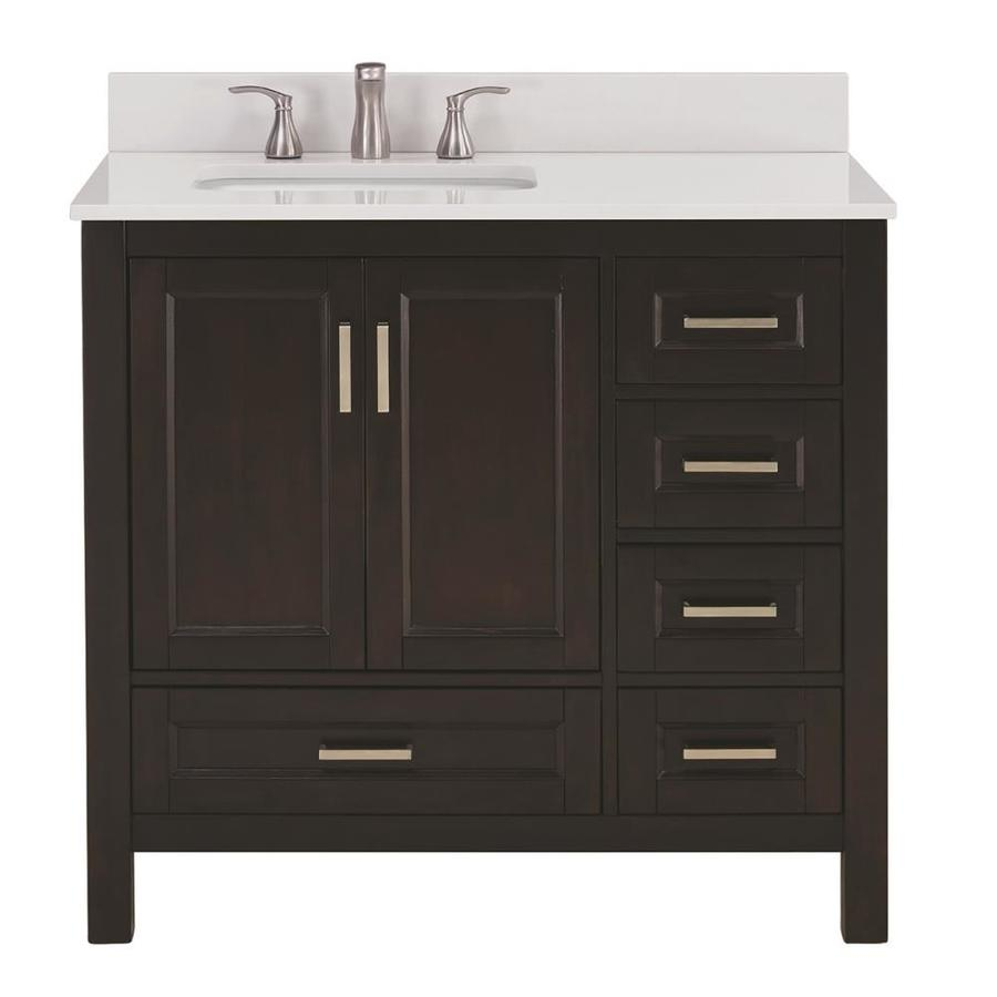 Shop Scott Living Durham Espresso Single Sink Vanity With White Engineered Stone Top Common 36