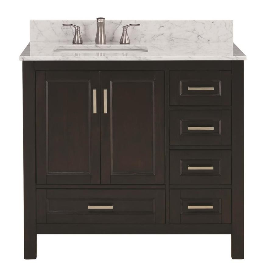 Scott Living Durham Espresso Undermount Single Sink Bathroom Vanity with Natural Marble Top (Common: 36-in x 22-in; Actual: 36-in x 22-in)