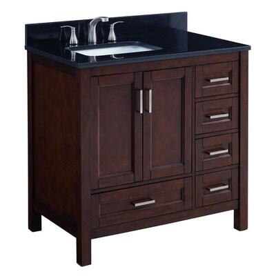 Durham 36 In Chocolate Single Sink Bathroom Vanity With Black Granite Top