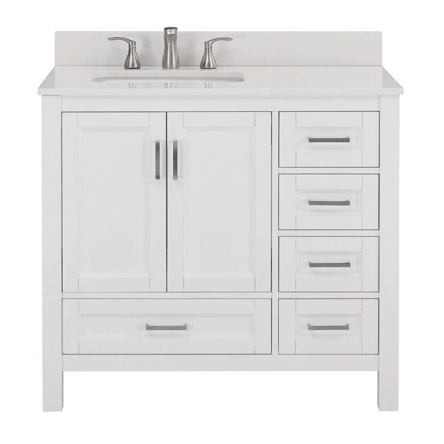 Scott living durham 36 in white oak single sink bathroom vanity with white engineered stone top
