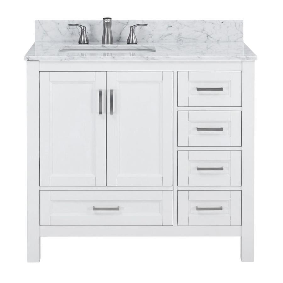 Shop Scott Living Durham White Oak Single Sink Vanity With Carrara Natural Marble Top Common