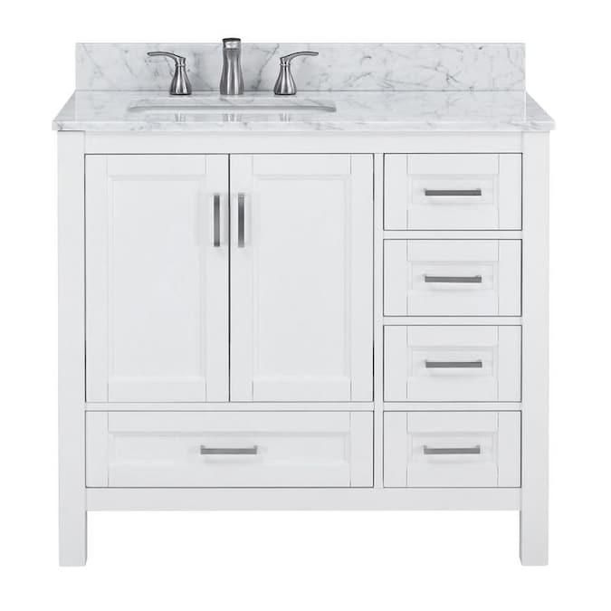 Durham 36 In White Oak Undermount Single Sink Bathroom Vanity With Carrara Natural Marble Top In The Bathroom Vanities With Tops Department At Lowes Com