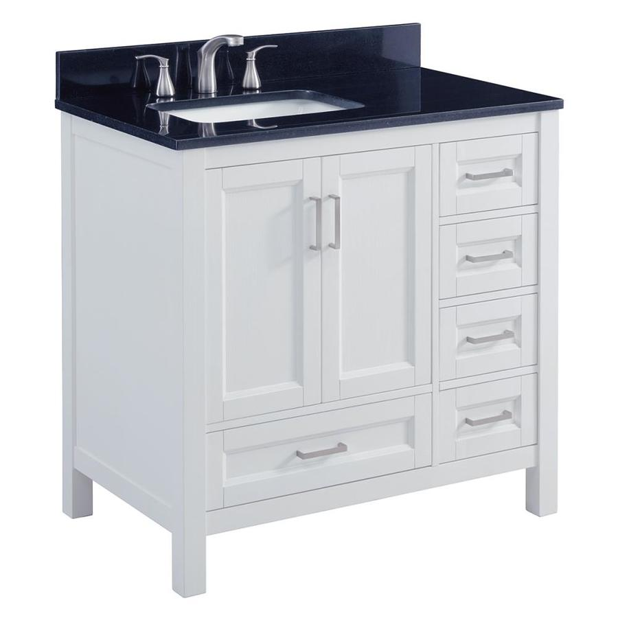 Scott Living Durham White Undermount Single Sink Bathroom Vanity with Granite Top (Common: 36-in x 22-in; Actual: 36-in x 22-in)