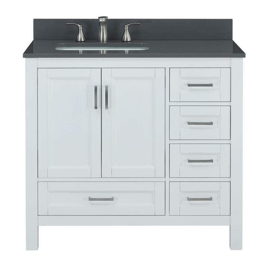 Scott Living Durham White Undermount Single Sink Bathroom Vanity with Engineered Stone Top (Common: 36-in x 22-in; Actual: 36-in x 22-in)