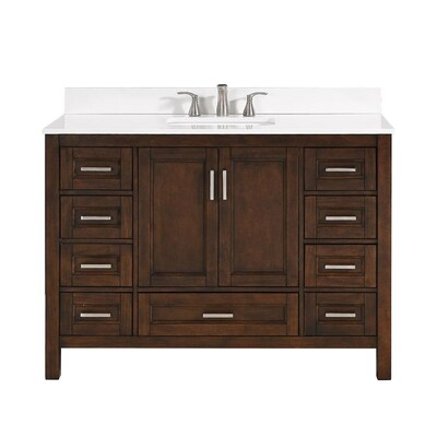 Durham 48 In Chocolate Single Sink Bathroom Vanity With White Engineered Stone Top