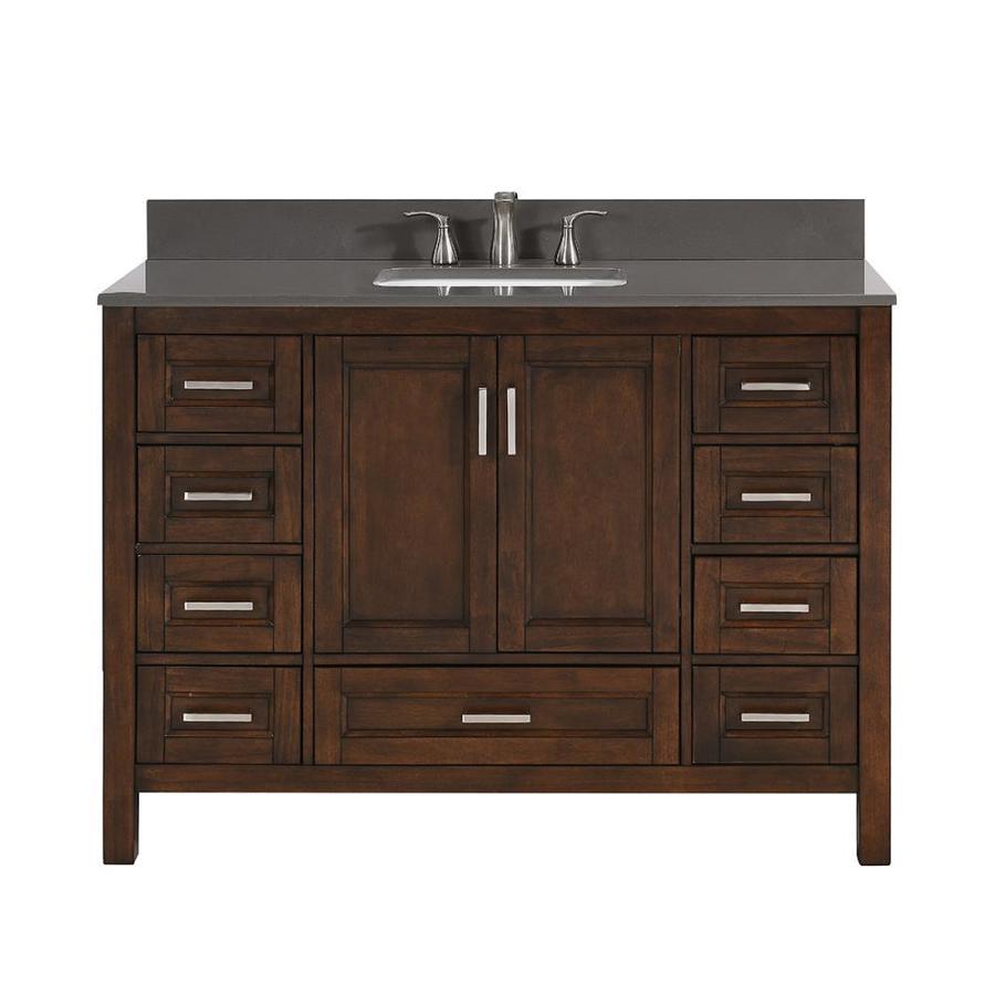 Scott Living Durham 48 In Chocolate Single Sink Bathroom Vanity With Dark Gray Engineered Stone