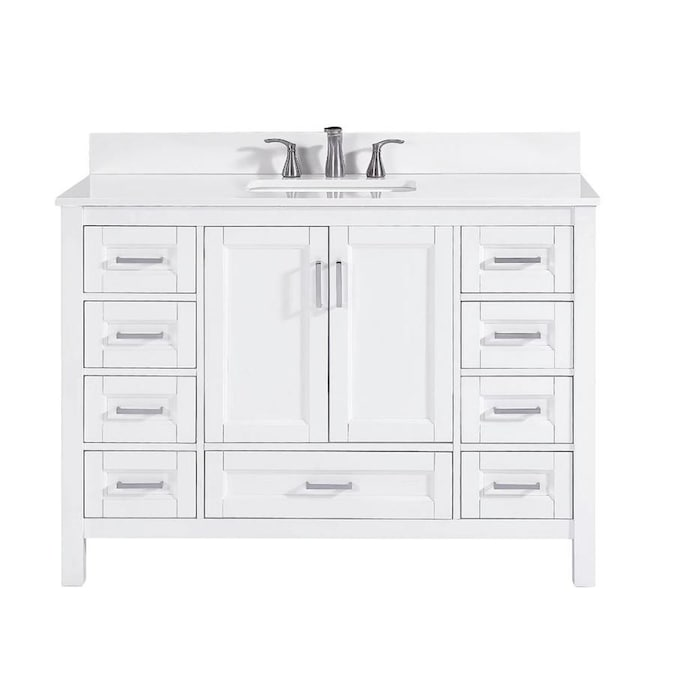 Durham 48 In White Oak Undermount Single Sink Bathroom Vanity With White Engineered Stone Top In The Bathroom Vanities With Tops Department At Lowes Com