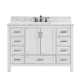 Scott Living Durham White Undermount Single Sink Bathroom Vanity With  Natural Marble Top (Common: