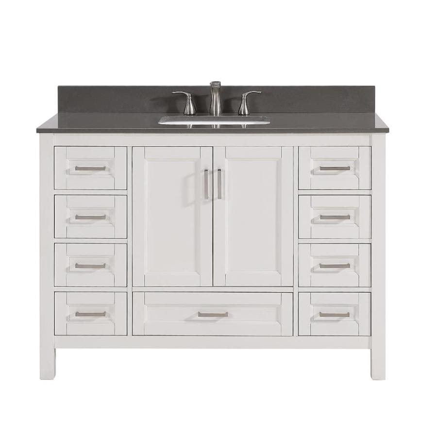 Scott Living Durham White Undermount Single Sink Bathroom Vanity with Engineered Stone Top (Common: 48-in x 22-in; Actual: 48-in x 22-in)