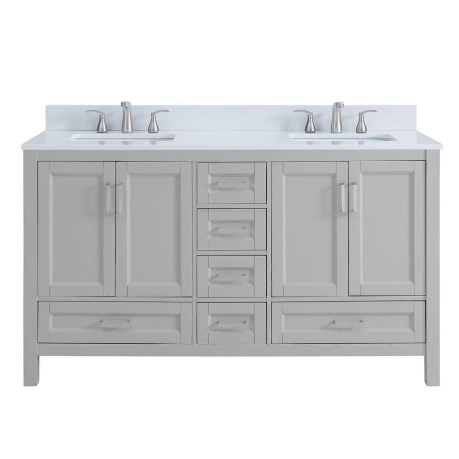 Light Colored Granite For Bathroom: Shop Scott Living Durham Light Gray Double Sink Vanity