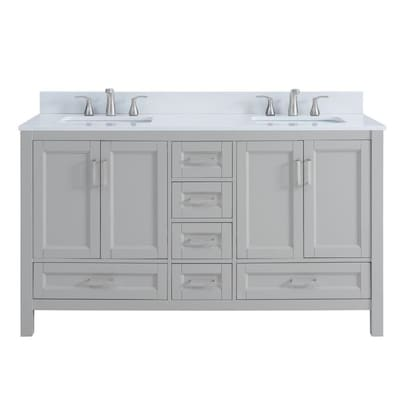 Durham 60 In Light Gray Undermount Double Sink Bathroom Vanity With White Engineered Stone Top In The Bathroom Vanities With Tops Department At Lowes Com