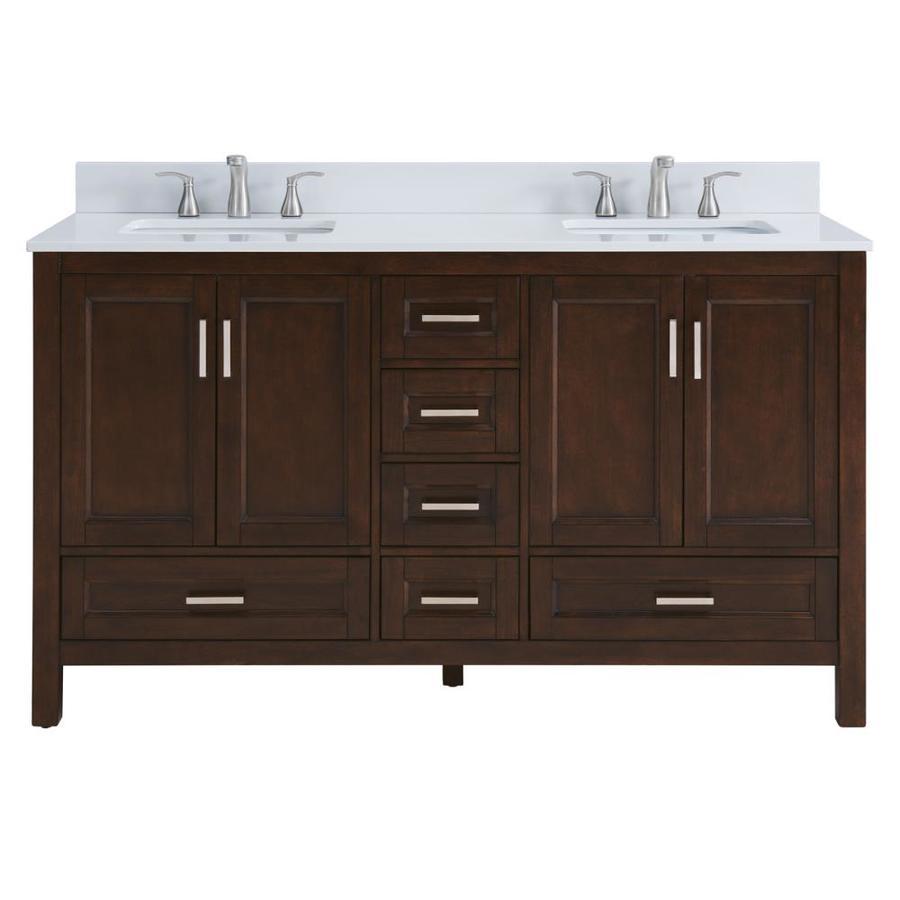 Scott Living Durham Chocolate Undermount Double Sink Bathroom Vanity with Engineered Stone Top (Common: 60-in x 22-in; Actual: 60-in x 22-in)