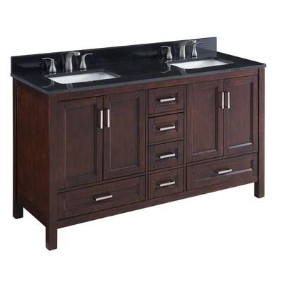 Durham 60 In Chocolate Double Sink Bathroom Vanity With Black Granite Top