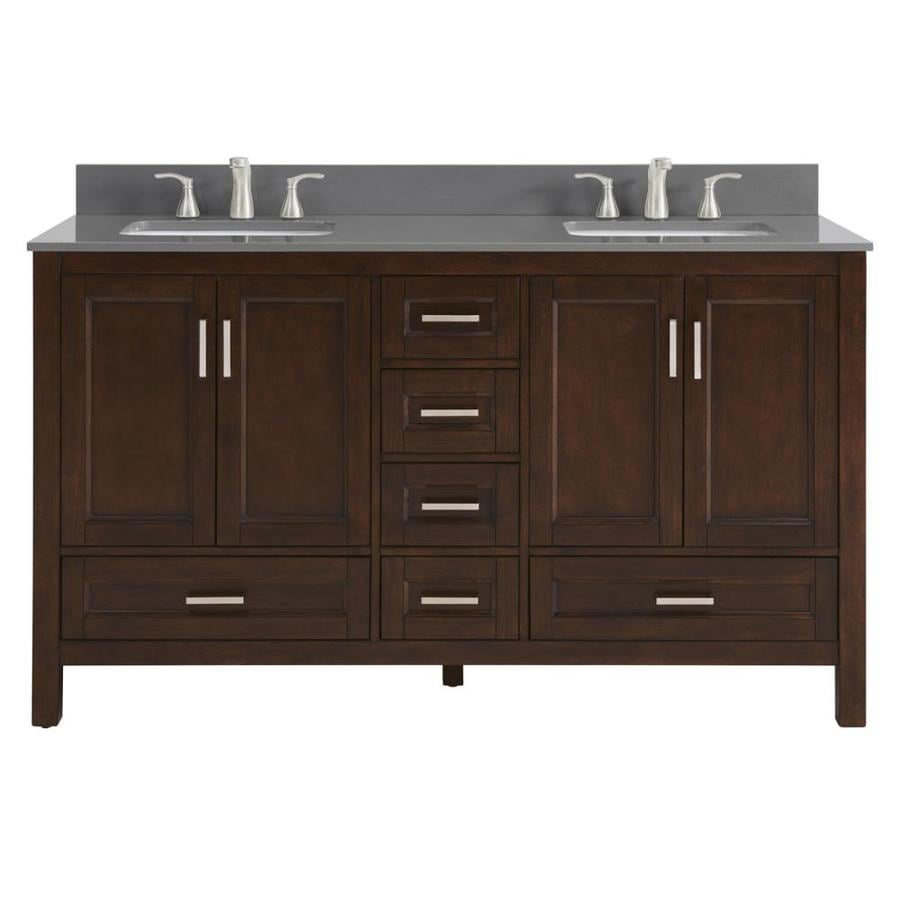 Scott Living Durham Chocolate Undermount Double Sink Bathroom Vanity with Engineered Stone Top (Common: 60-in x 22-in; Actual: 60-in x 22-in)
