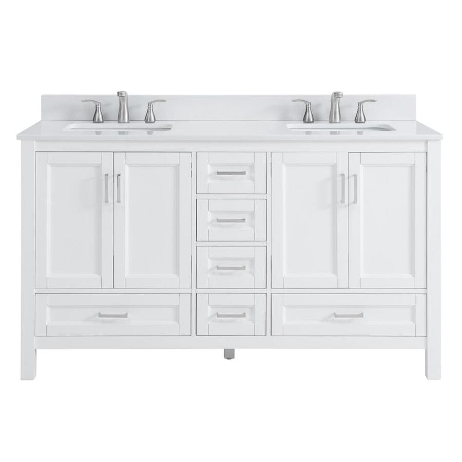 Shop scott living durham white undermount double sink bathroom vanity with engineered stone top - Double bathroom vanities granite tops ...