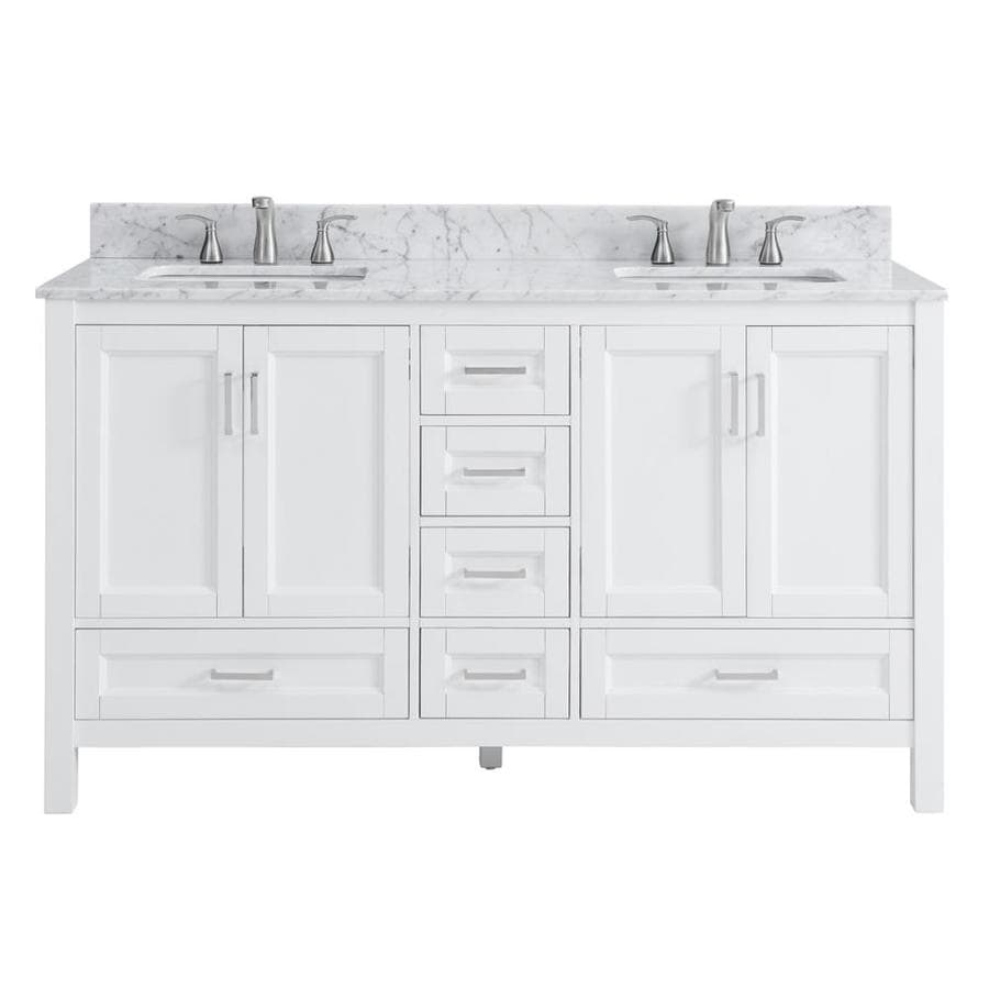 Shop scott living durham white undermount double sink bathroom vanity with natural marble top Marble top bathroom vanities