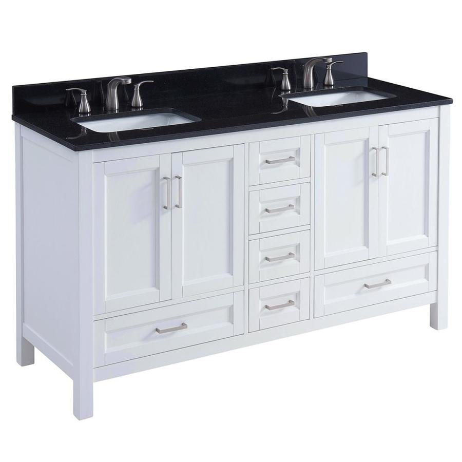 60 double sink vanity with granite top. Scott Living Durham White Undermount Double Sink Bathroom Vanity with  Granite Top Common 60 Shop