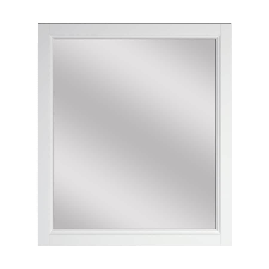 Shop scott living canterbury 28 in white rectangular bathroom mirror at for White rectangular bathroom mirror