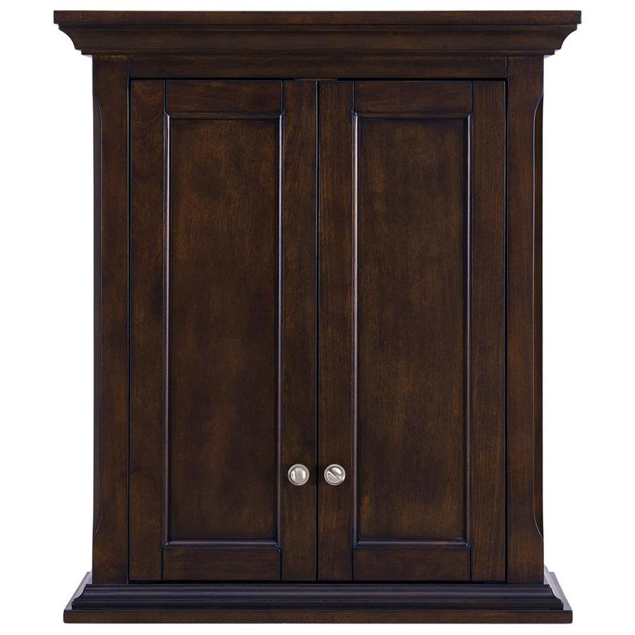 allen + roth Roveland 24-in W x 28-in H x 10-in D Mahogany Bathroom Wall Cabinet