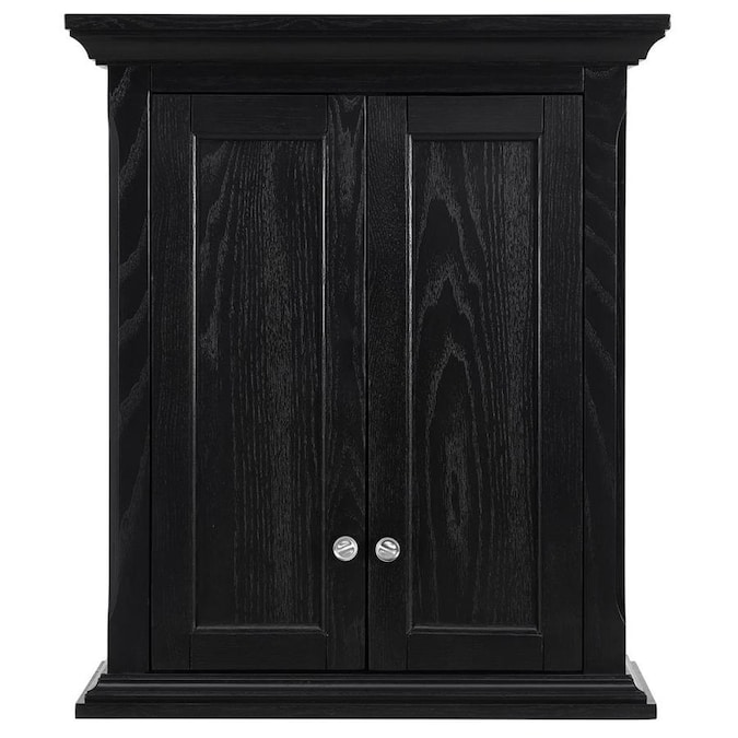 Allen Roth Roveland 24 In W X 28 In H X 10 In D Black Bathroom Wall Cabinet In The Bathroom Wall Cabinets Department At Lowes Com