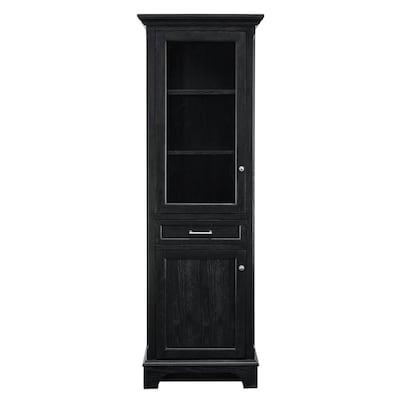 best loved 1bf61 f7ded Roveland 24-in W x 72-in H x 16-in D Black MDF Freestanding Linen Cabinet