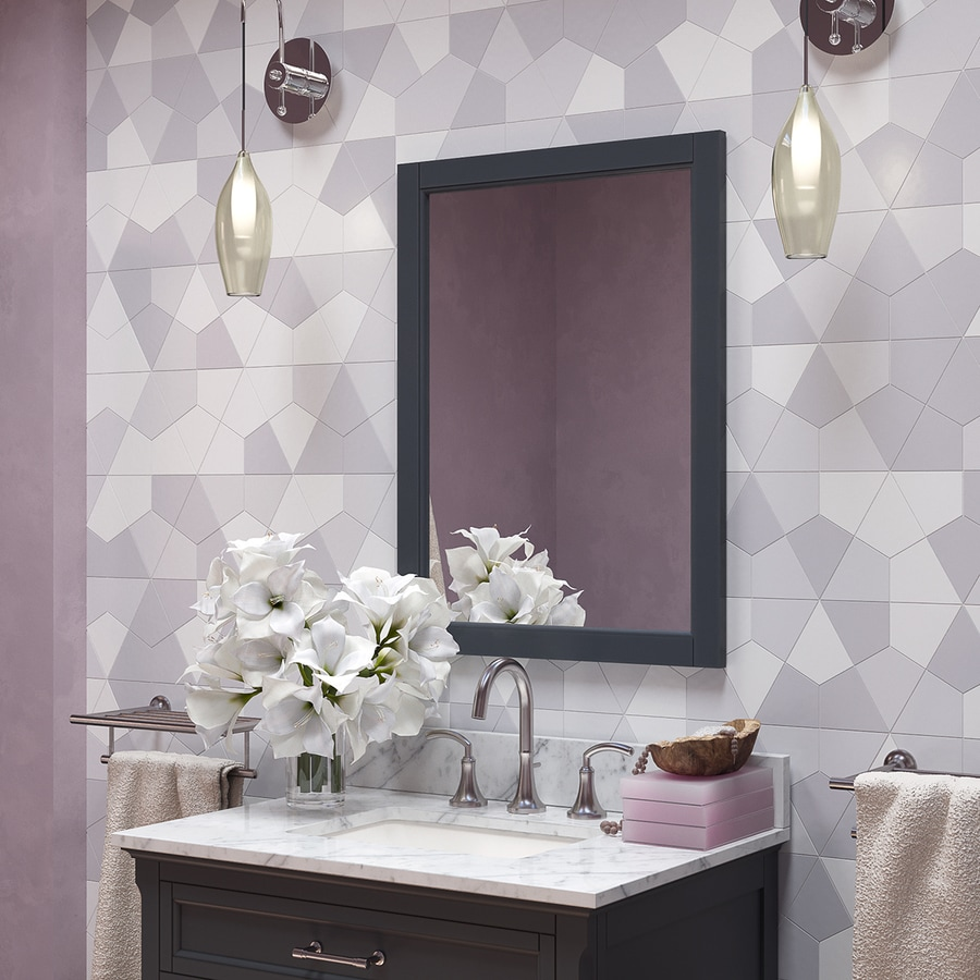 allen + roth Roveland 24-in x 30-in Dark Gray Rectangular Framed Bathroom Mirror