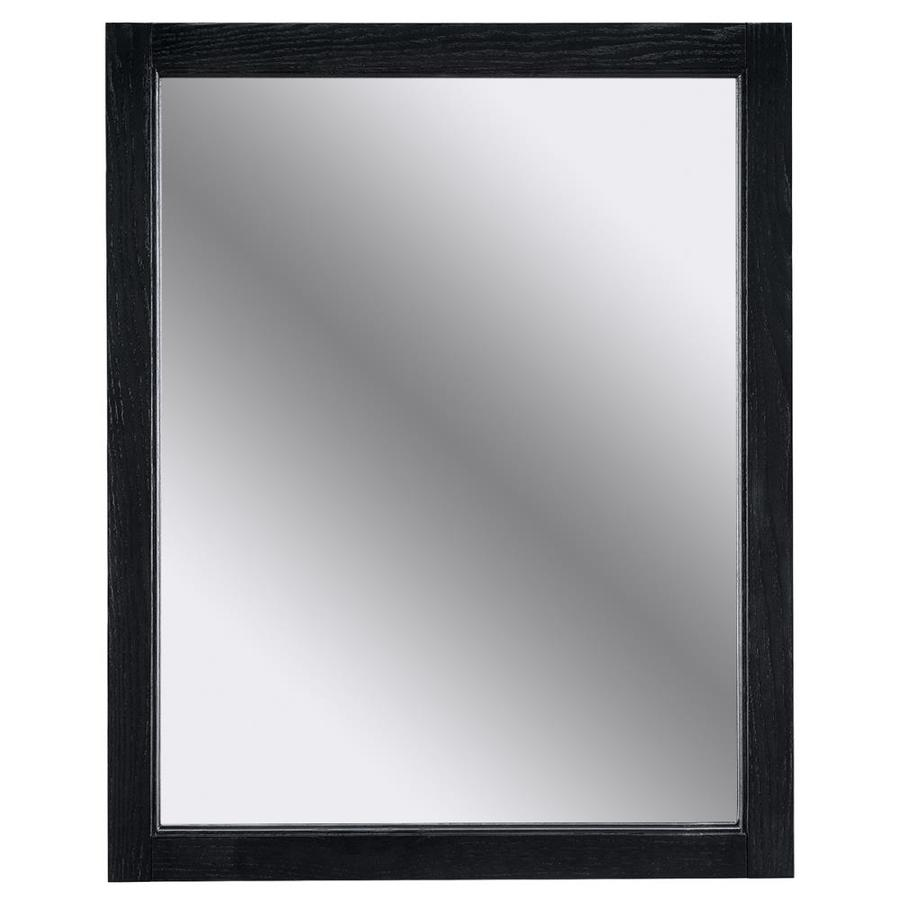 black framed bathroom mirror shop allen roth roveland 24 0 in x 30 0 in black 17396