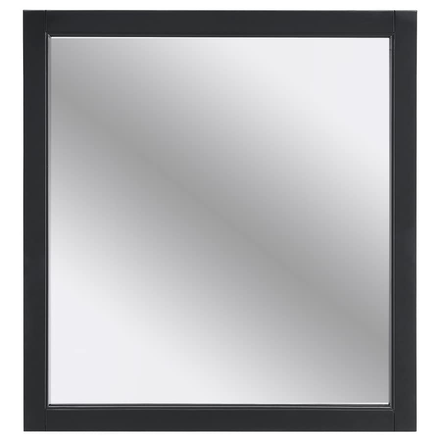 allen + roth Roveland 28-in x 30-in Dark Gray Rectangular Framed Bathroom Mirror