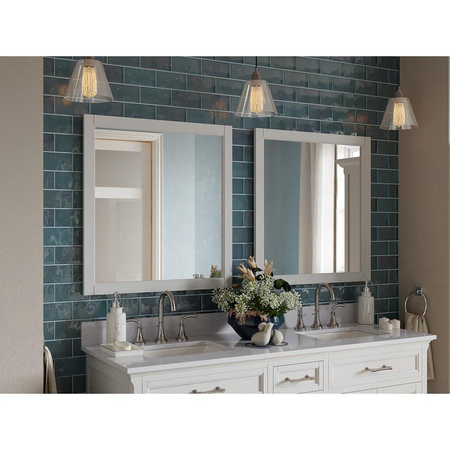 Shop scott living roveland 28 in white rectangular bathroom mirror at for White rectangular bathroom mirror