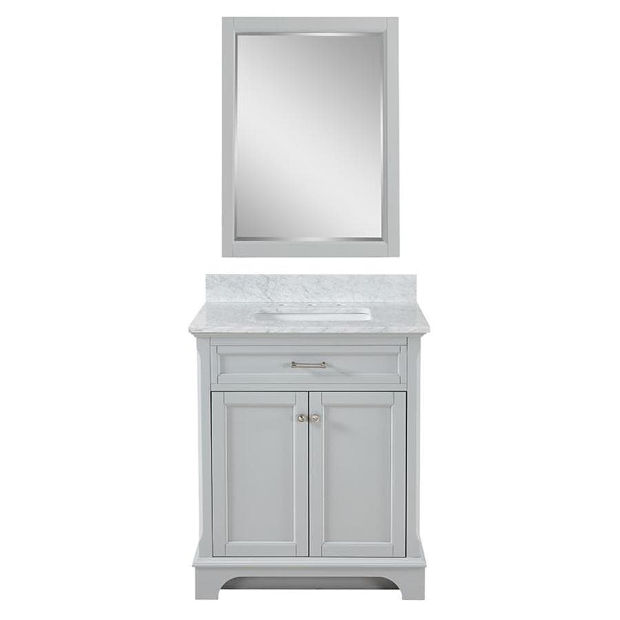 Scott Living Roveland Light Gray Single Sink Vanity With Carrara Marble Natural Top Common