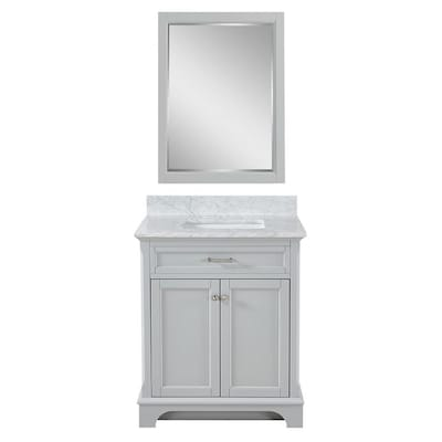 Roveland 30 In Light Gray Single Sink Bathroom Vanity With Natural Carrara Marble Top And Mirror