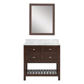 Scott Living Canterbury 36 In Mahogany Undermount Single Sink Bathroom Vanity With Carrara Engineered Stone Top Mirror Included Lowe S Inventory Checker Brickseek