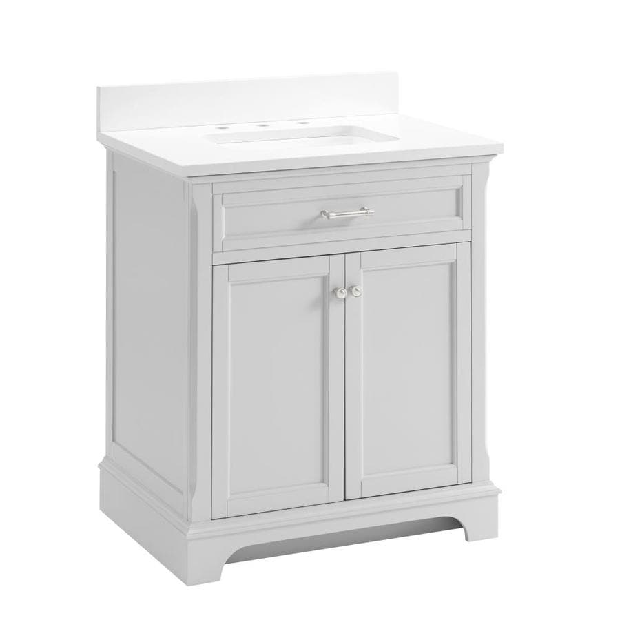 Shop Allen Roth Roveland Light Gray Undermount Single Sink Bathroom Vanity With Engineered