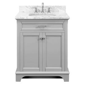 9b88e584f41 Scott Living Roveland 30-in Light Gray Single Sink Bathroom Vanity with  Natural Carrara Marble