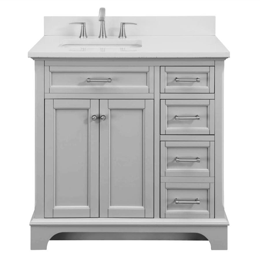 Light Gray Granite Vanity Top : Shop allen + roth Roveland Light Grey Undermount Single Sink Bathroom Vanity with Engineered ...
