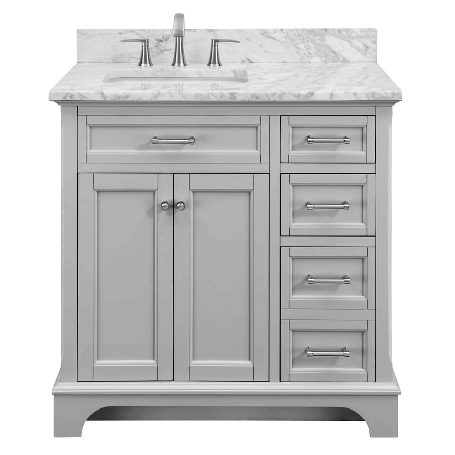 allen + roth Roveland Light Grey Undermount Single Sink Bathroom Vanity with Natural Marble Top (Common: 36-in x 22-in; Actual: 36-in x 22-in)