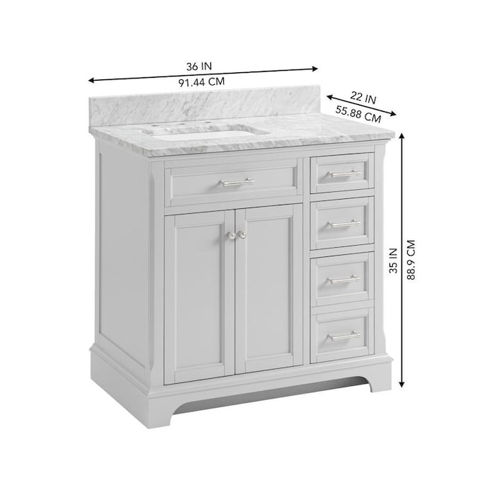 Allen Roth Roveland 36 In Light Gray Undermount Single Sink Bathroom Vanity With Natural Carrara Marble Top In The Bathroom Vanities With Tops Department At Lowes Com