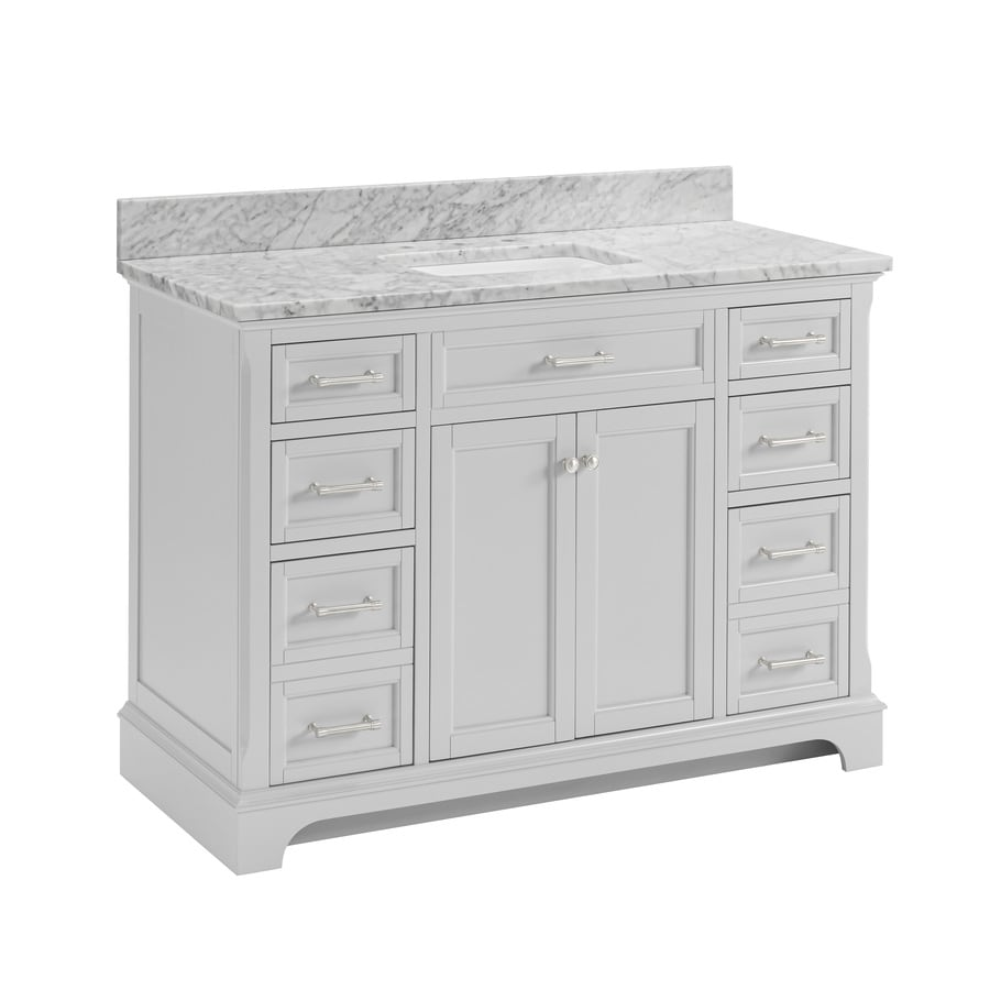 allen + roth Roveland Light Grey Undermount Single Sink Bathroom Vanity with Natural Marble Top (Common: 48-in x 22-in; Actual: 48-in x 22-in)