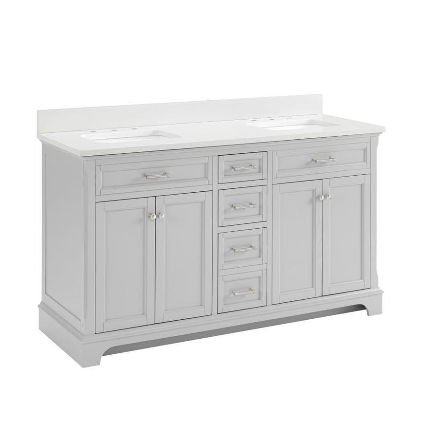 Allen Roth Bathroom Vanity shop allen + roth roveland light grey undermount double sink