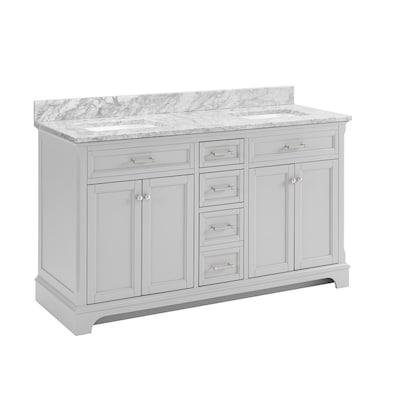 Light Gray Double Sink Bathroom Vanity