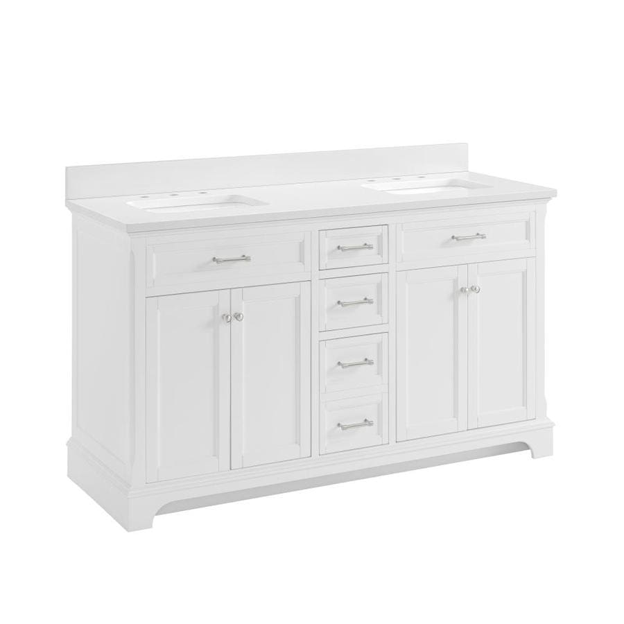 allen + roth Roveland White Undermount Double Sink Bathroom Vanity with Engineered Stone Top (Common: 60-in x 22-in; Actual: 60-in x 22-in)