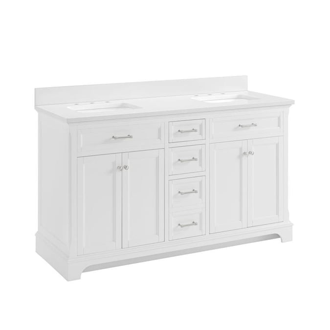 Allen Roth Roveland 60 In White Undermount Double Sink Bathroom Vanity With White Engineered Stone Top In The Bathroom Vanities With Tops Department At Lowes Com