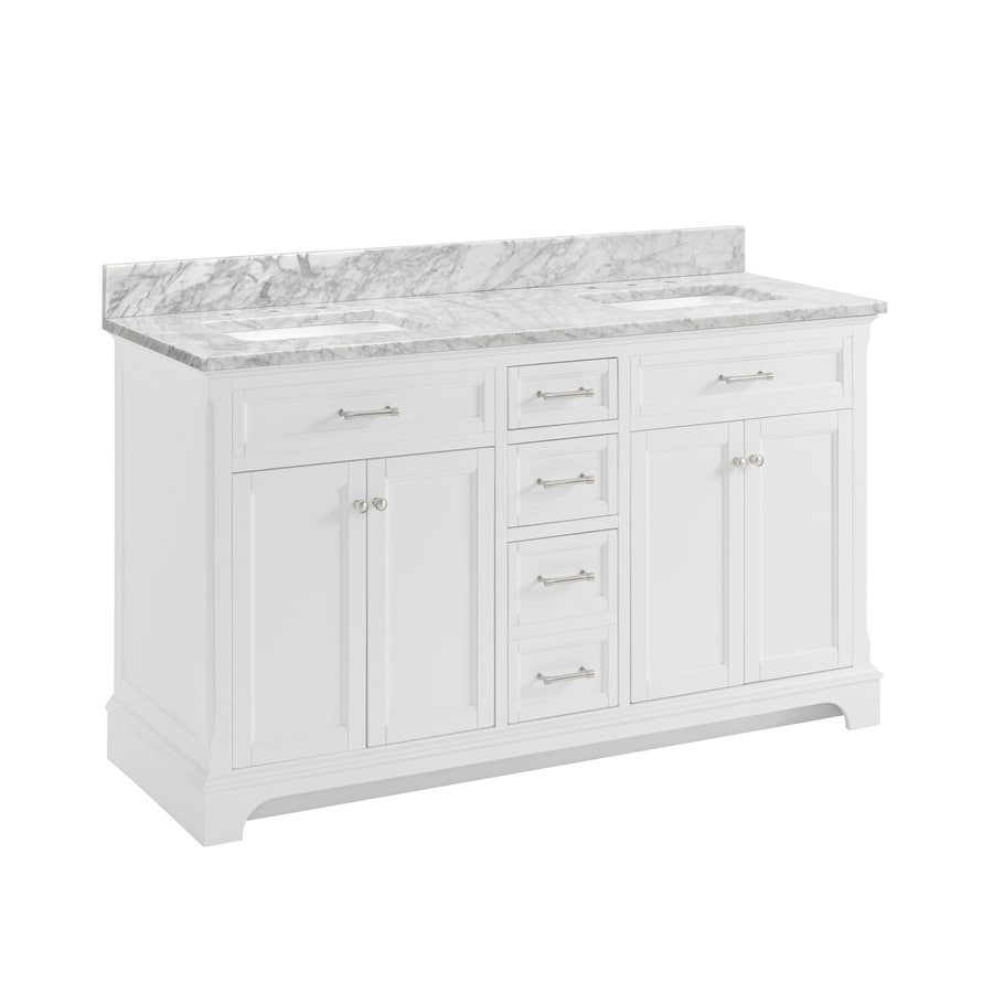 allen + roth Roveland White Undermount Double Sink Bathroom Vanity with Natural Marble Top (Common: 60-in x 22-in; Actual: 60-in x 22-in)