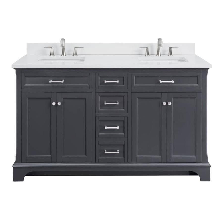 Shop Allen Roth Roveland Dark Gray Undermount Double Sink Bathroom Vanity With Engineered