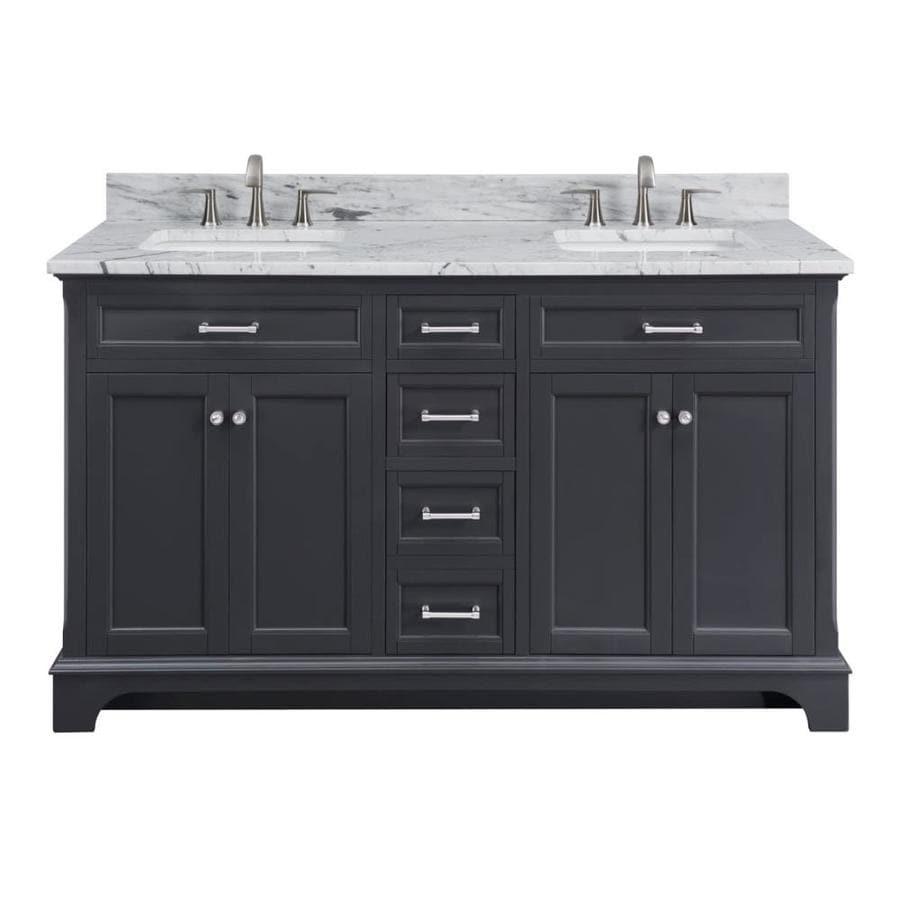 allen + roth Roveland Dark Grey Undermount Double Sink Bathroom Vanity with Natural Marble Top (Common: 60-in x 22-in; Actual: 60-in x 22-in)
