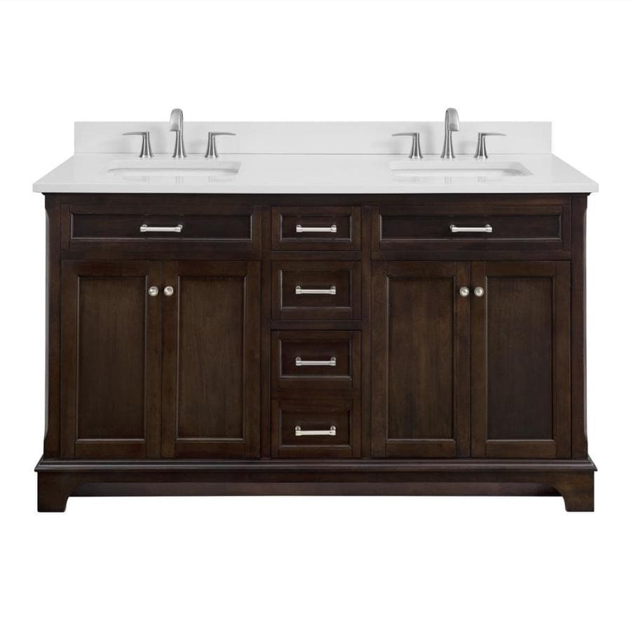allen + roth Roveland Mahogany Undermount Double Sink Bathroom Vanity with Engineered Stone Top (Common: 60-in x 22-in; Actual: 60-in x 22-in)