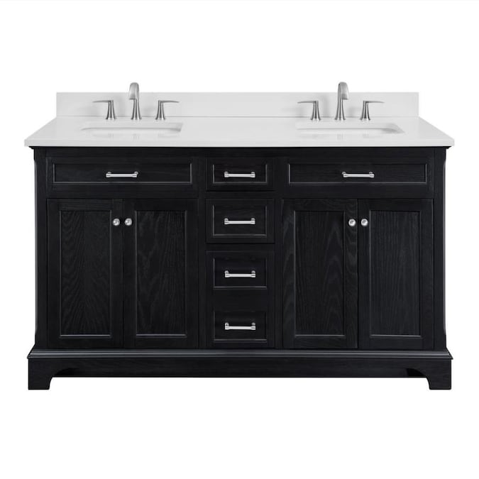 Scott Living Roveland 60 In Black Oak Double Sink Bathroom Vanity With White Engineered Stone Top In The Bathroom Vanities With Tops Department At Lowes Com